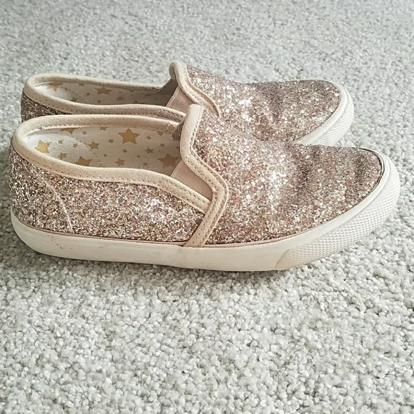 7d9da7d32d26 Cat & Jack Shoes | Girls Gold Glitter Slip On Sneakers Size 12 ...